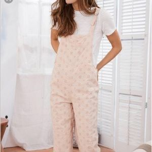 American Eagle Pink Eyelet Overalls